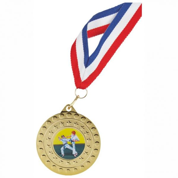 Medal and Ribbon Deal Gold Colour. Made from a gold coloured metal alloy with a dull finish. A clip ring to which a red white and blue 22mm wide ribbon is connected