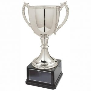 Nickel Plated Cup. Constructed from a bright shiny nickel plated metal alloy cup body and stem foot. With weighted square shaped black plastic composite base. Supplied with a black coloured heading plate