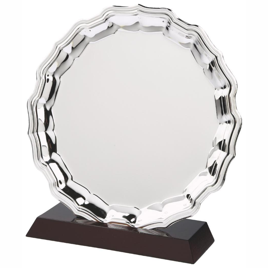 Nickel Plated Salver and Base 30cms dia. Constructed from a metal alloy with a bright shiny finish and rosewood slotted base. Incorporating large area to include any engraving if required. If required engraving is available for a small charge. Option to add a logo.
