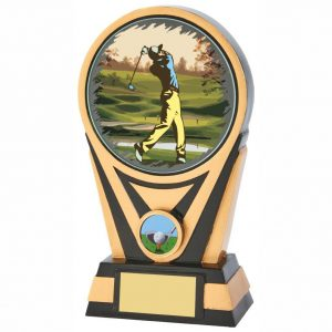 Golf Society Trophy 20cms. Constructed from heavy resin base material coloured with black and gold colour. A special colour printed glass disc is attached.Engraving available for a small engraving charge