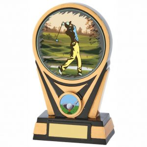 Golf Society Trophy 17cms. Constructed from heavy resin base material coloured with black and gold colour. A special colour printed glass disc is attached. Engraving available for a small engraving charge