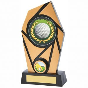 Golfing Weekend Trophy 20cms. Black and gold coloured quality resin trophy. Supplied with a fine detailed printed glass disc trophy showing a golf ball in a wreath