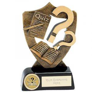 Resin Quiz Trophy 16cms. Ideal for any Pop quiz, sports quiz or general knowledge quiz. Great for all team winners or runners up