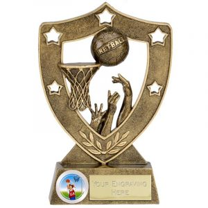 Netball Scene Trophy 13cms. Firstly a great netball trophy for any netball achievement or netball accolade. Ideal for end of season presentation event.