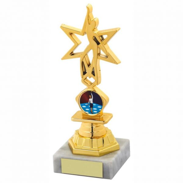 Star Dancing Trophy 17.5cms a gold coloured hard plastic composite star figure. A medium riser bell. All connected to a piece of white marble.