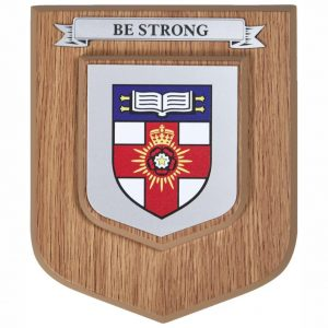 Light Oak Finish Heraldic Wall Plaque Single Scroll
