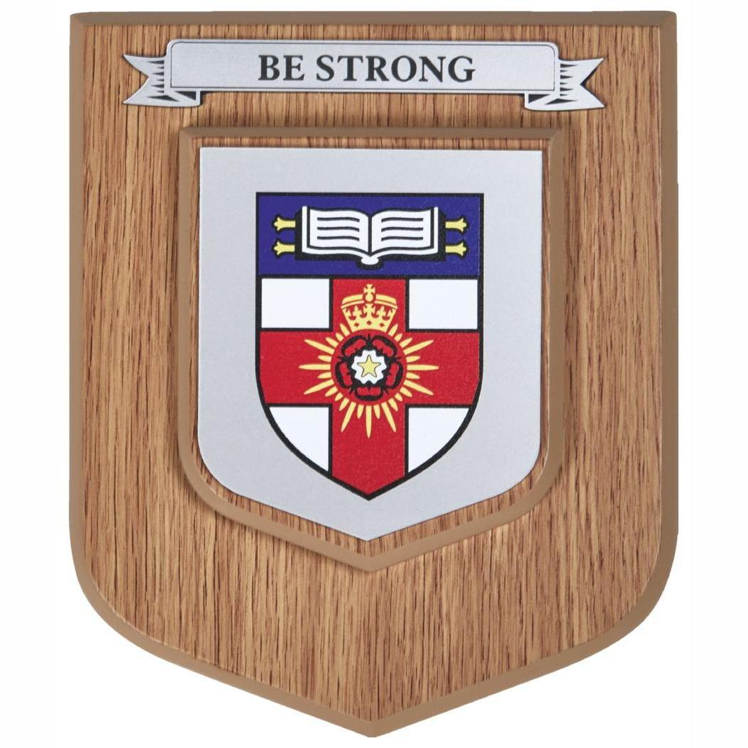 Light Oak Finish Heraldic Wall Plaque Single Scroll