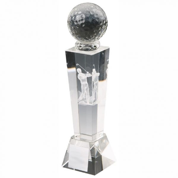 3D Golfer Trophy 16cms. Clean glass trophy column with a glass golf ball on top. Incorporating a 3D laser male golfer inside the column. Supplied in luxury lined presentation case.