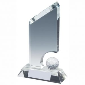 Golf Ball Trophy 17cms. Clean cut edged glass trophy with lots of room in the glass to glass etch