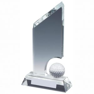 Golf Ball Trophy 21cms. Clean cut edged glass trophy with lots of room in the glass to glass etch. Supplied in luxury lined presentation case.