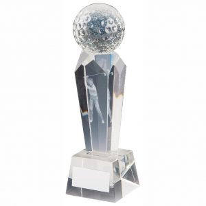 Golf Column Trophy 17cms. Clean glass trophy column with a glass golf ball on top. Incorporating a 3D laser male golfer inside the column. Supplied in luxury lined presentation case.