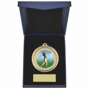 Male Golfer 60mm Medal in Blue Case