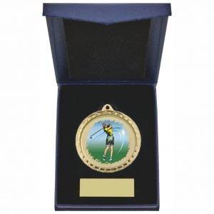 Womens Golfer Medal in Blue Case