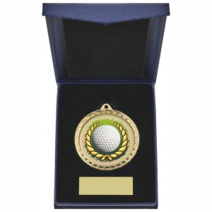 Golf Ball and Wreath 60mm Medal in Blue Case