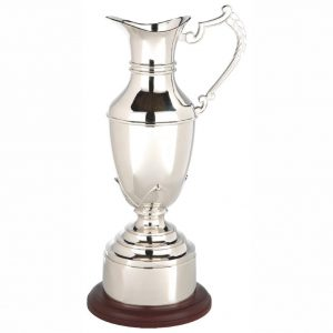 Open Replica Jug 21cms. Constructed from metal alloy body and stem with decorative handle. Nickel plated to leave a bright shiny finish.