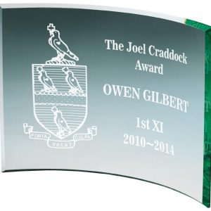 Bargain Glass Trophy 12.5cms. 5mm self standing jade glass. Glass etched on the the glass for a small charge. Supplied in white packing box.