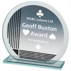 Special Recognition Glass Trophy 13cms. circular shaped jade glass 4mm thick with a series of printed vertical and horizontal line. Lots of room to include any engraving.