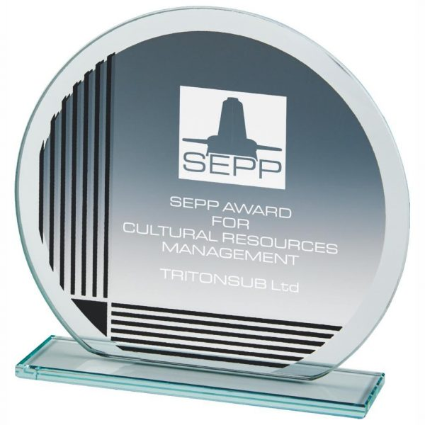 Ideal presentation glass trophy for any special event, business award ceremony or corporate recognition's. circular shaped jade glass 4mm thick incorporating a series of printed vertical and horizontal lines.