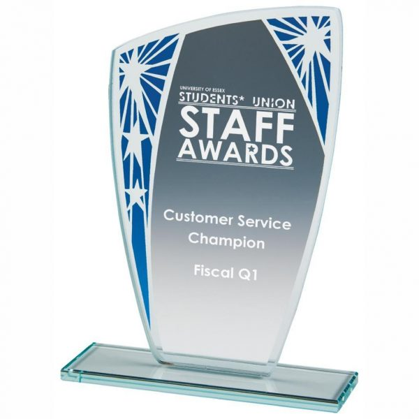 Presentation Stars Trophy 16cms. 4mm jade glass with a series of stars on blue segment. Glass etchedon the the glass
