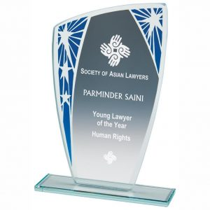 Presentation Stars Trophy 18.5cms. 4mm jade glass with a series of stars on blue segment. Glass etchedon the the glass