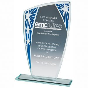 Presentation Stars Trophy 20.5cms. 4mm jade glass with a series of stars on blue segment. Glass etchedon the the glass