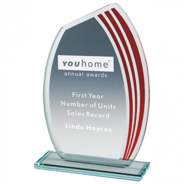 Budget Glass Award 15.5cms.4mm jade glass with a series of red curved stripes running down one side