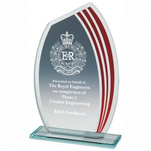 Budget Glass Award 17cms. 4mm jade glass with a series of red curved stripes running down one side