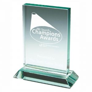 Achievement Glass Trophy 14cms. Rectangular shape jade glass 15mm thickness jade glass trophy.