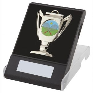 Flip Box Medal Chrome. Made from a black plastic composite flip box, clear lid and insert for the medal to fit snug into
