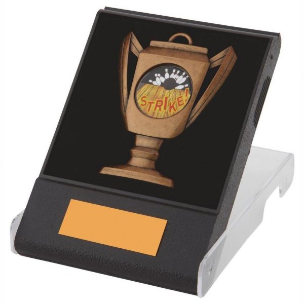 Flip Box Medal Copper. Made from a black plastic composite flip box, clear lid and insert for the medal to fit snug into. Including a copper coloured cup shape metal alloy