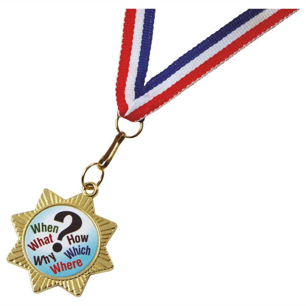 Star Shaped Gold Colour Medal and Ribbon