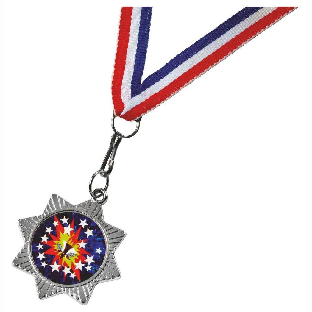 Star Shaped Silver Colour Medal and Ribbon