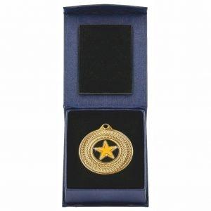 50mm dia Medal in Navy Blue Case