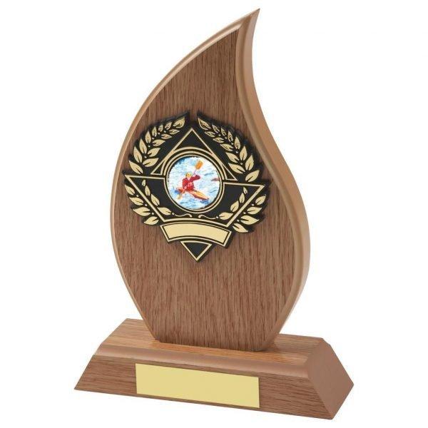 Lightwood Flame Shape Canoe Trophy