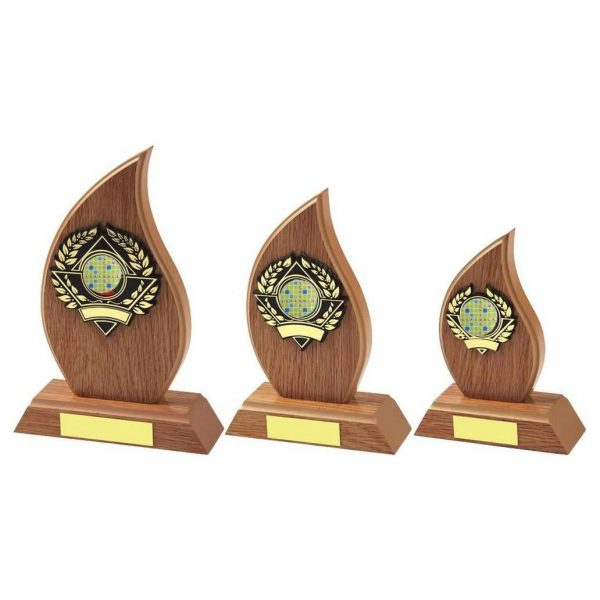 Lightwood Flame Shape Scrabble Trophy