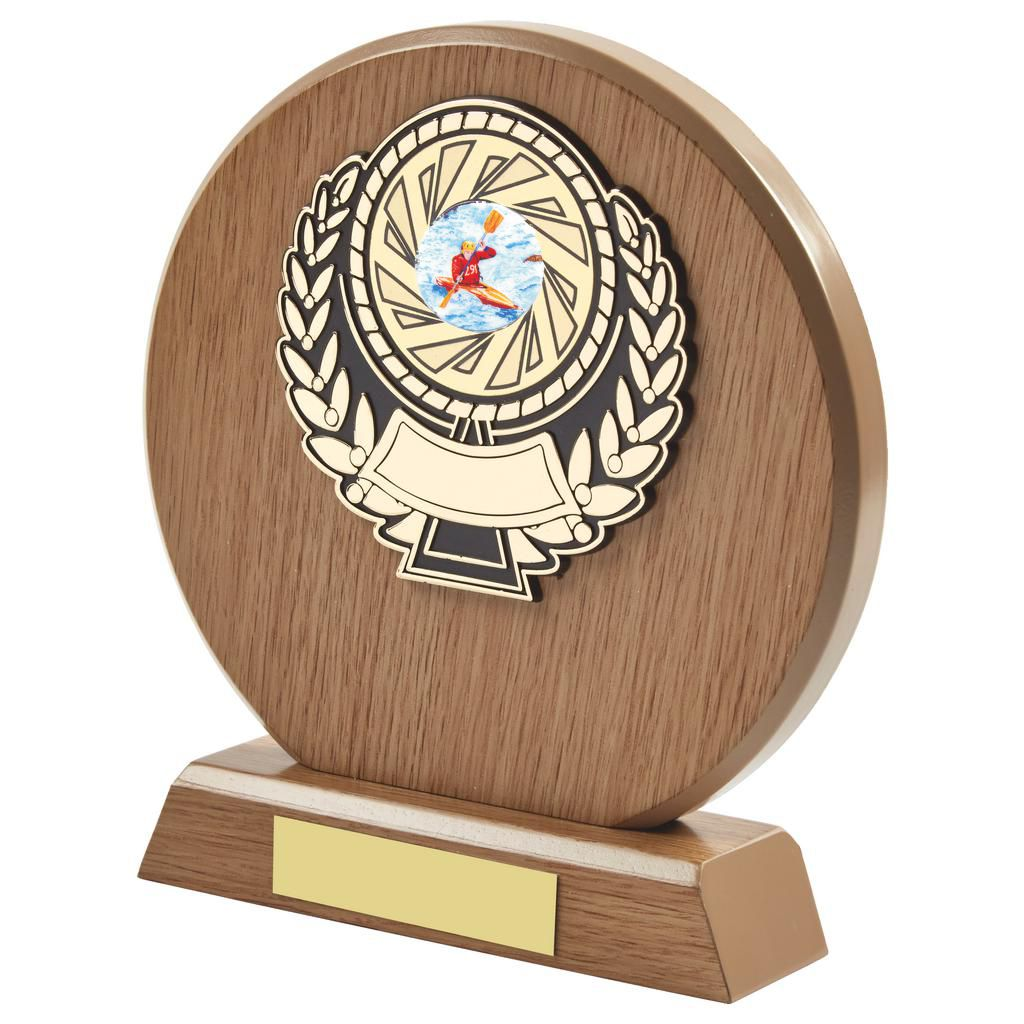 light wood coloured round shaped canoeing trophy