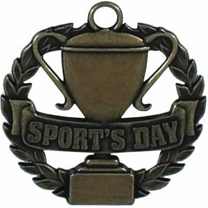 Sports Day Medal in Wreath Bronze Colour 50mm dia