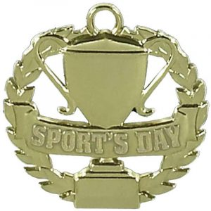 Sports Day Medal in Wreath Gold Colour 50mm dia