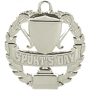 Sports Day Medal in Wreath Silver Colour 50mm dia