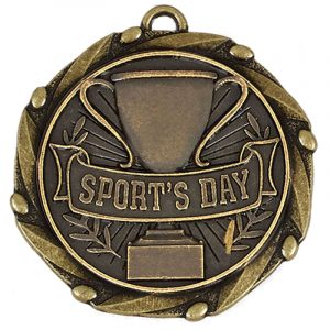 Sports Day Medal Antique Gold Colour 45mm dia
