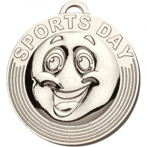 School Sports Day Silver Coloured Medal 50mm dia