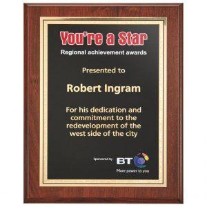 Special Recognition Printed Presentation Plaque Lrg