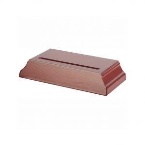 Rosewood coloured wooden slotted plate stand T0947