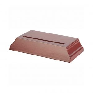 Rosewood coloured wooden slotted plate stand T0948