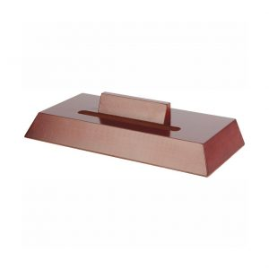 Rosewood coloured effect slotted plate stand T8455