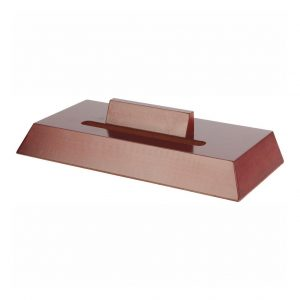 Rosewood coloured effect slotted plate stand T8456