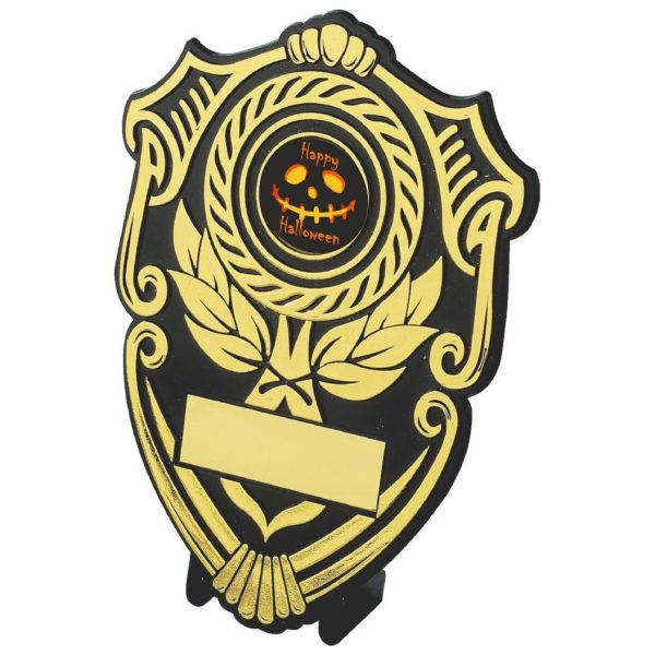 Black and gold plastic composite tradition shaped shield with a special Halloween centre