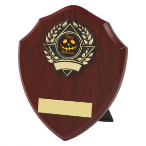 darkwood coloured traditional shaped Halloween themed shield