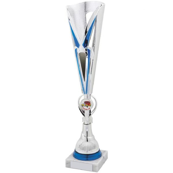 Chrome with Blue Coloured Fluted Car Trophy Cup