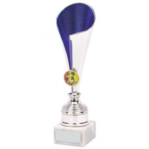 Chrome and Blue Coloured Fluted Trophy Cup